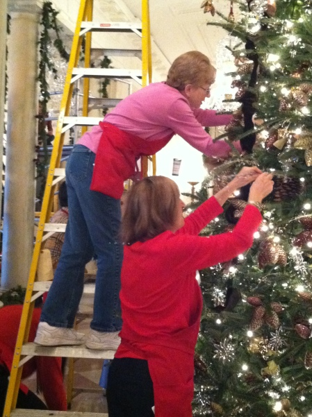 Fellow volunteers decorating