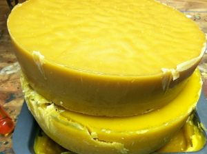 Beeswax cakes from my hives