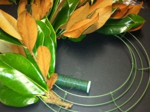 Wiring Brackens Brown Magnolia on a wire base