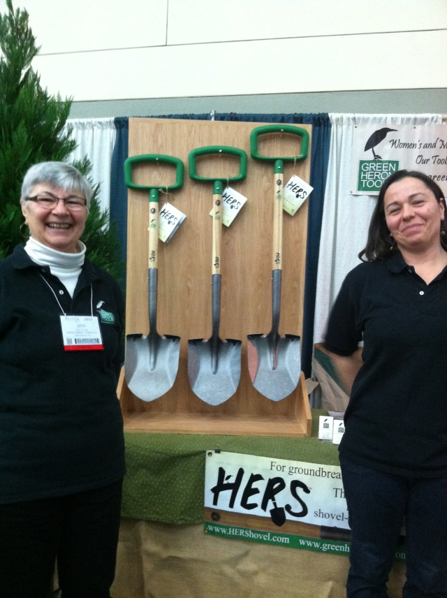Ann Adams and Liz Brensinger showing off their HERShovel at MANTS