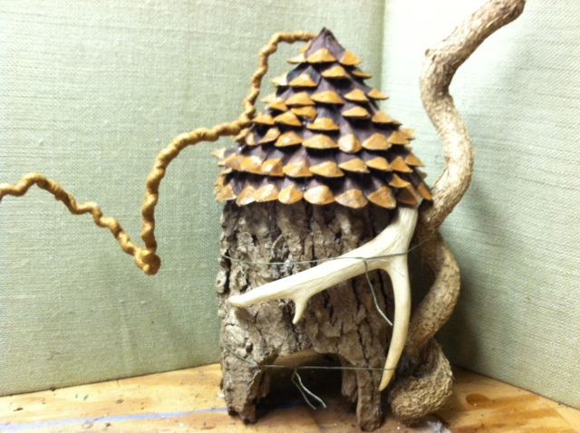 A fairy house under construction