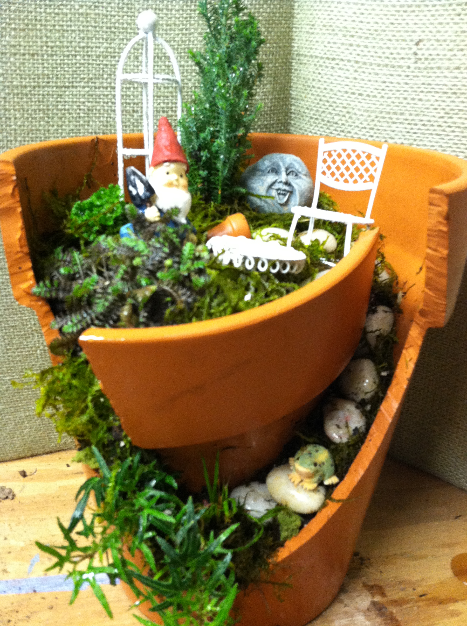 Gnome Garden: Broken Pot Garden- Home For A Gnome!