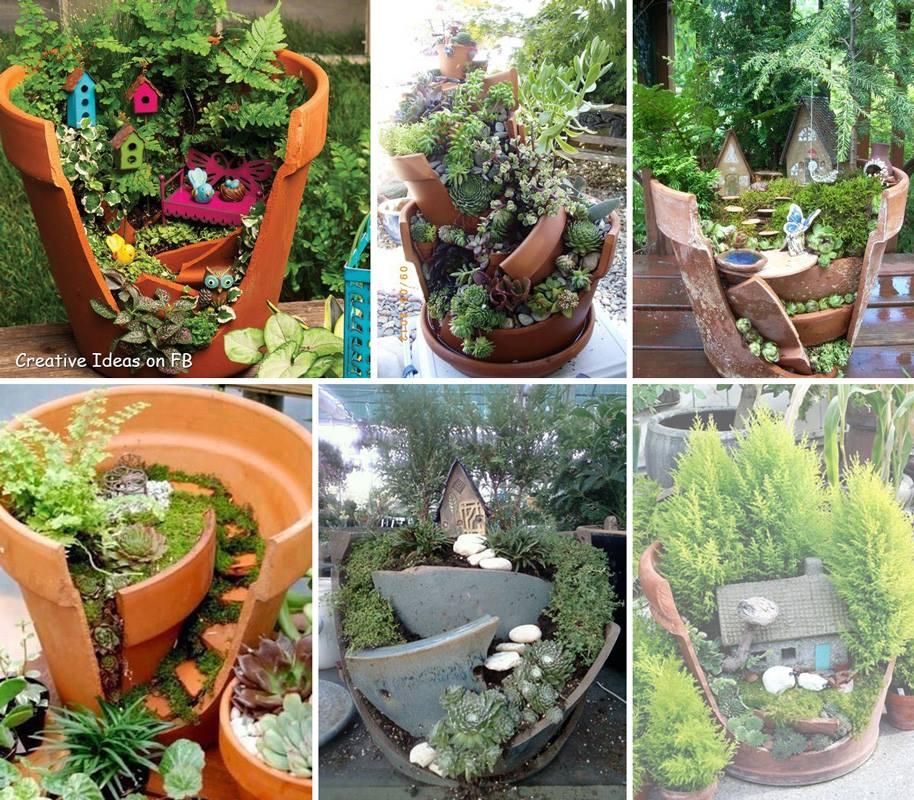 Broken Pot Garden- Home For A Gnome!