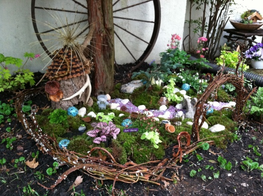 Outdoor fairy garden