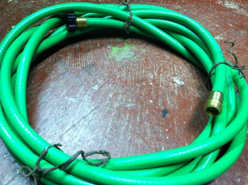 Wind the hose up and fasten with bark wire