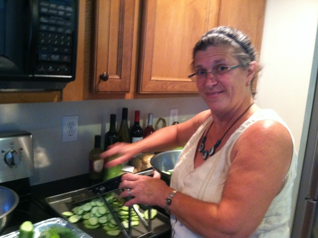 Shelly working hard on the mandoline