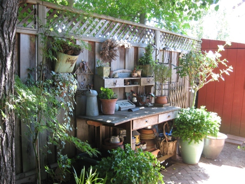 Carefully arranged potting bench and surroundings
