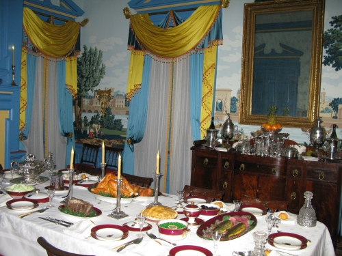 Festive settings for a dinner party at Hampton