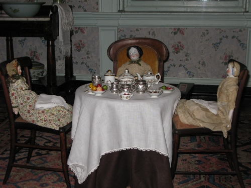 Doll's tea party set up in the nursery