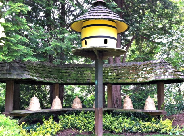 Beehives and giant birdhouse at Ladew Topiary Gardens