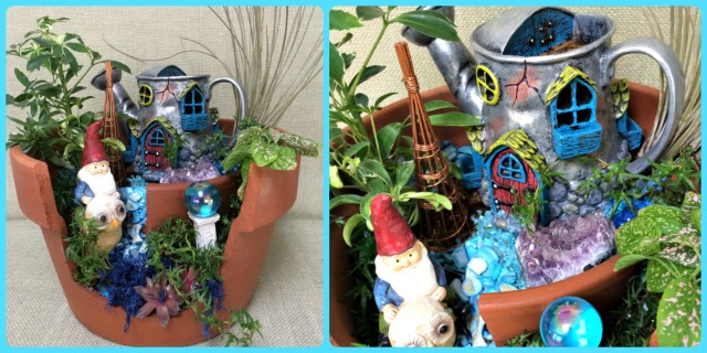 Broken pot garden for a gnome