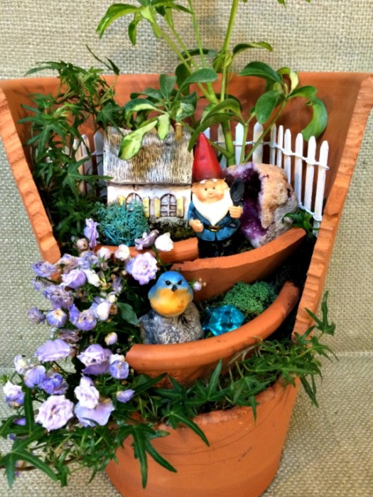 Home for a gnome out of a broken clay pot