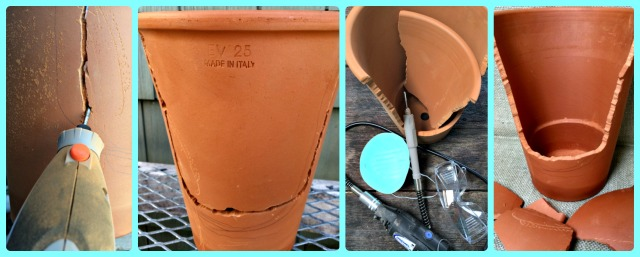 Cutting a terra cotta pot for your garden