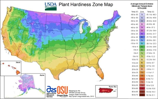 Map of hardiness zones