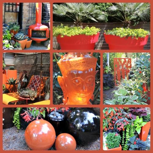 Orange accessories seen at J J De Sousa's garden in Portland