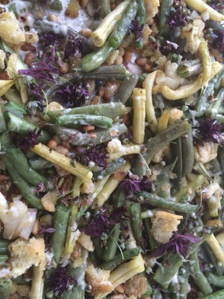 Oven Roasted Green Beans with Onion Flowers and Cardinal Basil Flowers