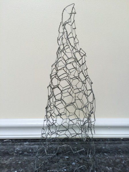 Chicken wire can easily be formed into a cone