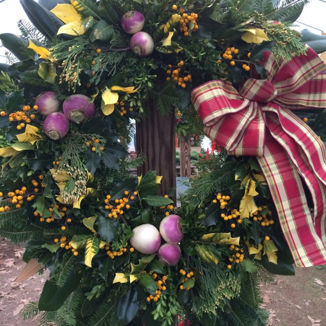 A wreath decorated with turnips!