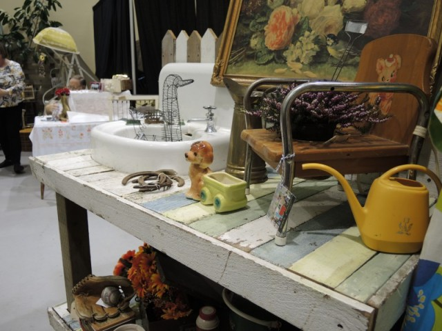 Potting bench made out of vintage items