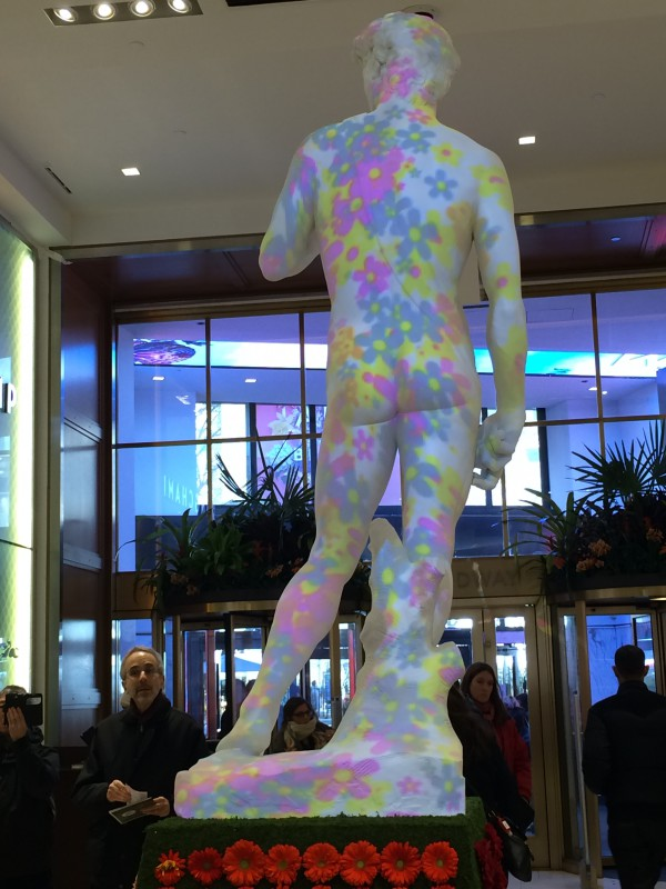 Statue of David clothed in pop art flowers
