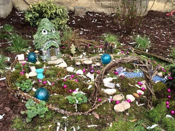 Fairy garden in a mossy setting