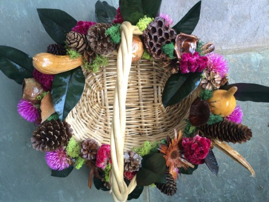 I used dried Pink Zazzle blooms in this pod basket for the fall