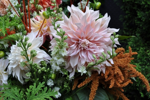 A beautiful example with Cafe au Lait Dahlias of Sarah's artwork