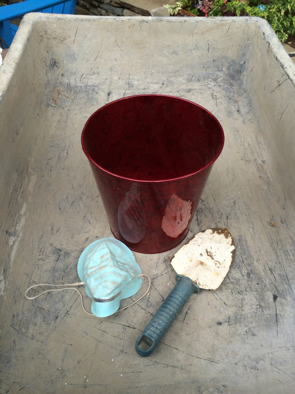 Use a small bucket for measuring