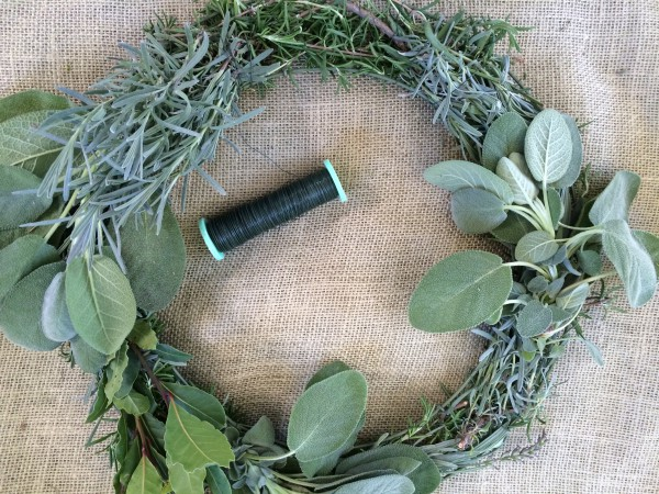 Wire your bundles, over lapping them around the wreath