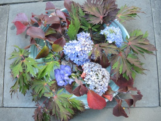 Hydrangea and aconitum (monkshood) added
