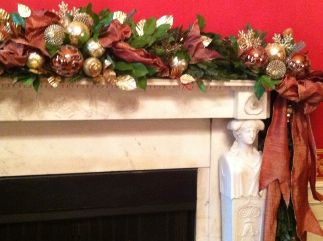 This is the Red Room color scheme in 2011 when I designed it-the mantel had more gold and copper added