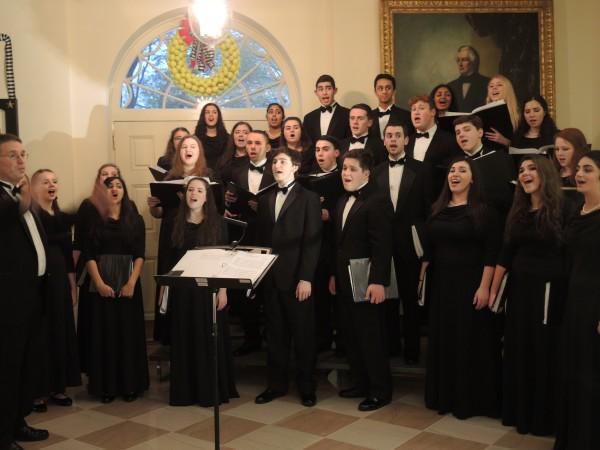 A choir serenaded the volunteers