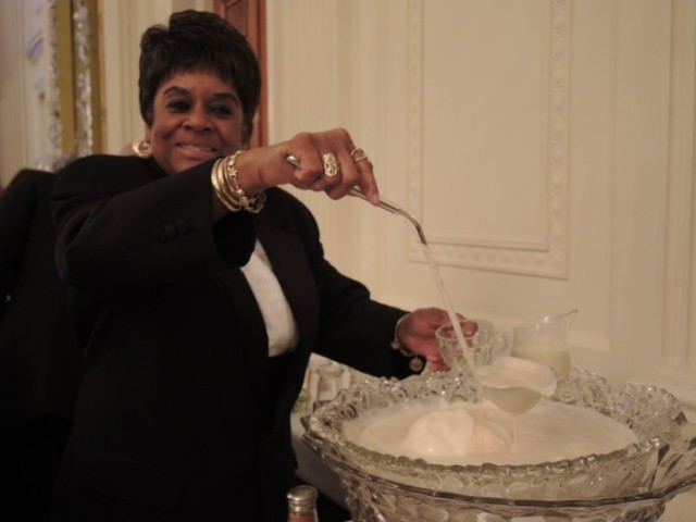The sublime egg nog was served by an employee of the White House who has been there since the Kennedy administration